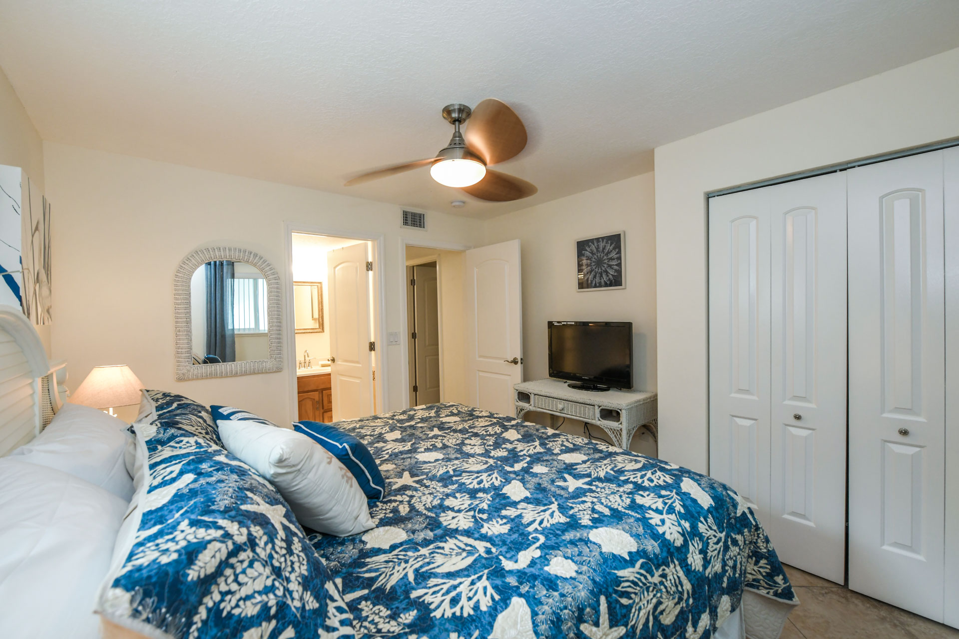 Spacious bedroom with HD tv