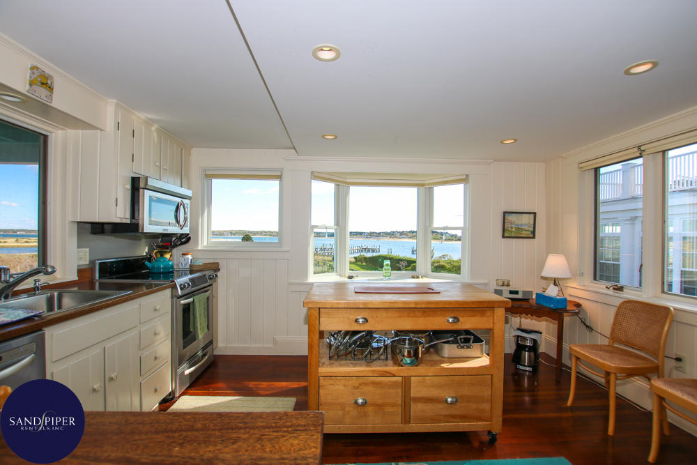 Kitchen with view of harbor