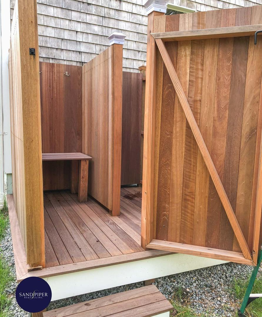 Outdoor shower changing area