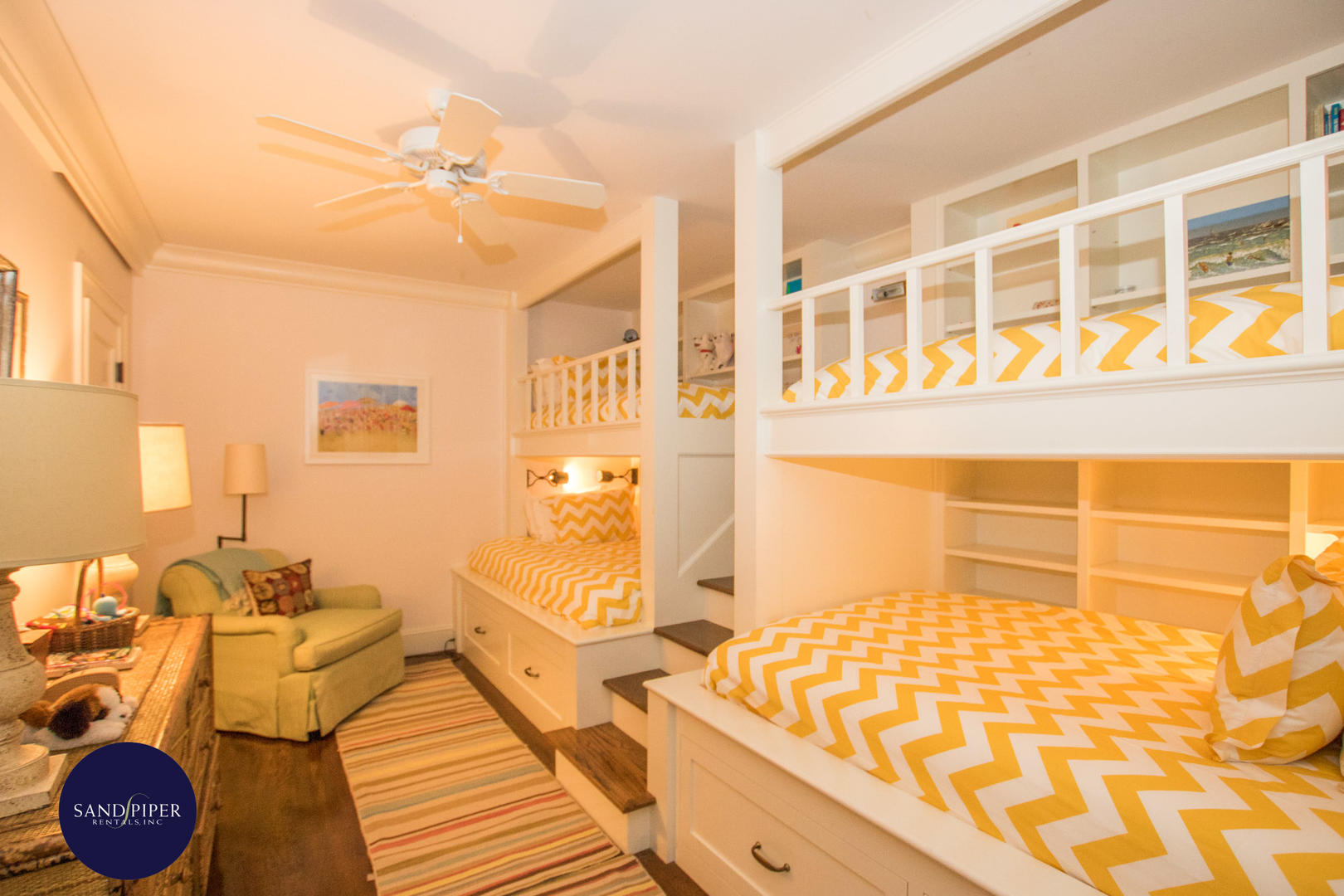 Bedroom Six, Lower Level, Pair of Bunk Beds