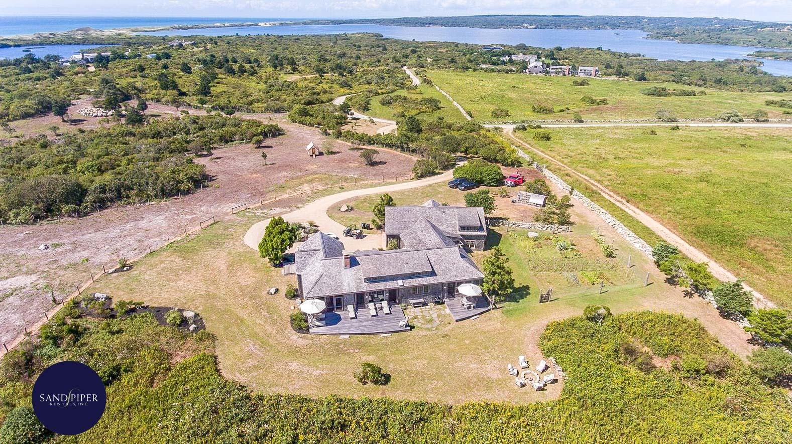 Large ocean view 4 bedroom Marthas Vineyard vacation home with 2 private beaches