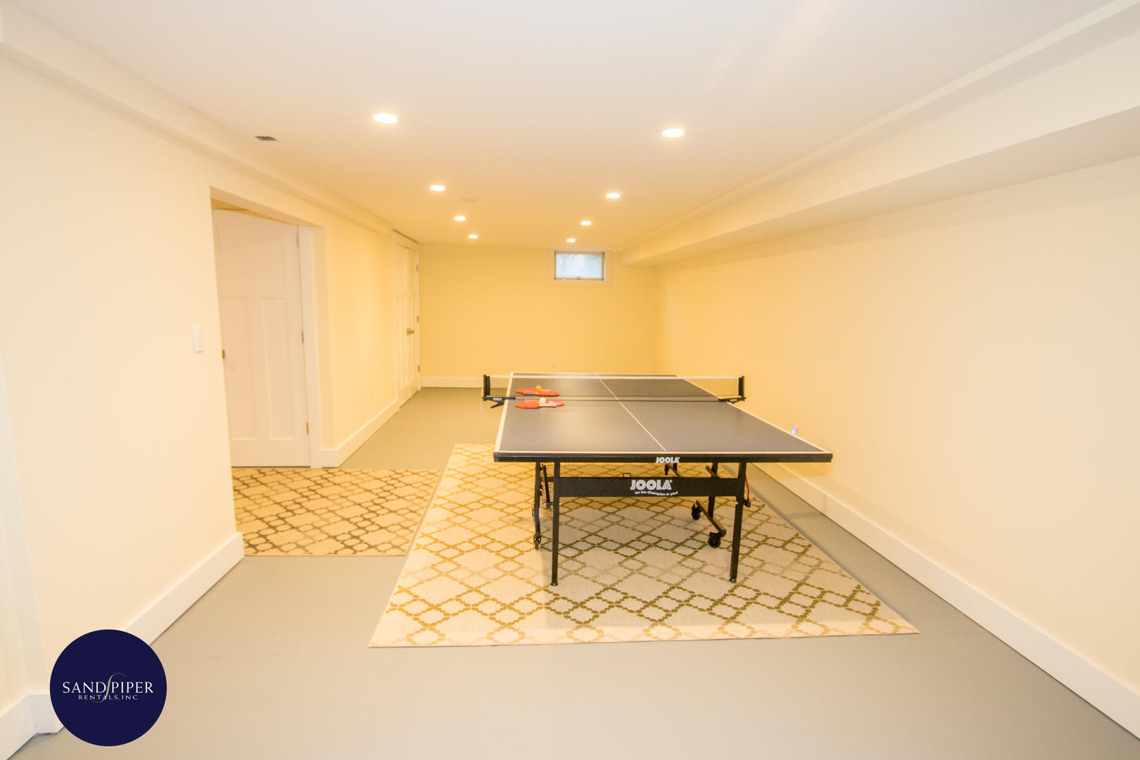 Ping pong table on lower level