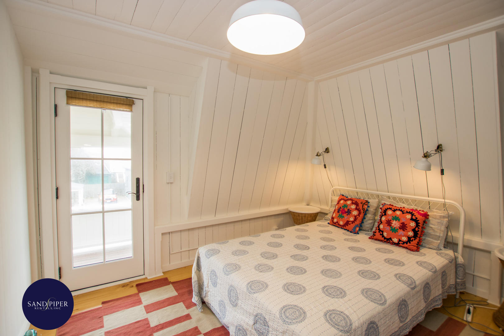 Bedroom 3, Queen and Pair of Twins, Doors to Porch with Waterviews