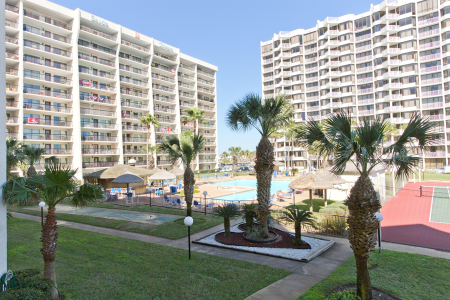 This condo has great views of the tropical grounds of Saida Condominiums