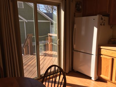 You can go out onto the deck from the kitchen.