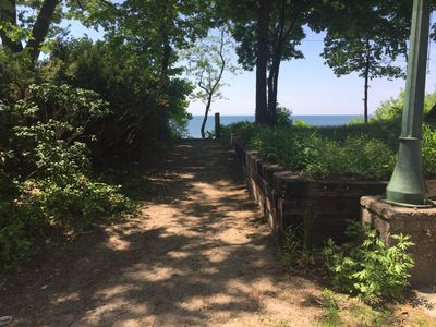 This is the path that leads to the steps that go to the beach.  This is just steps away from the house, so it is very close.