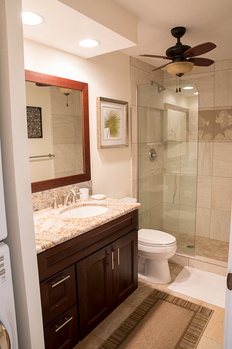 Guest bath is so close to the twin bedroom it is almost en suite.