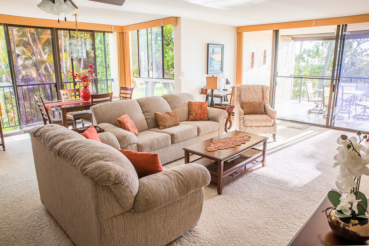 Wonderful living room with lots of room to relax and take in the view.