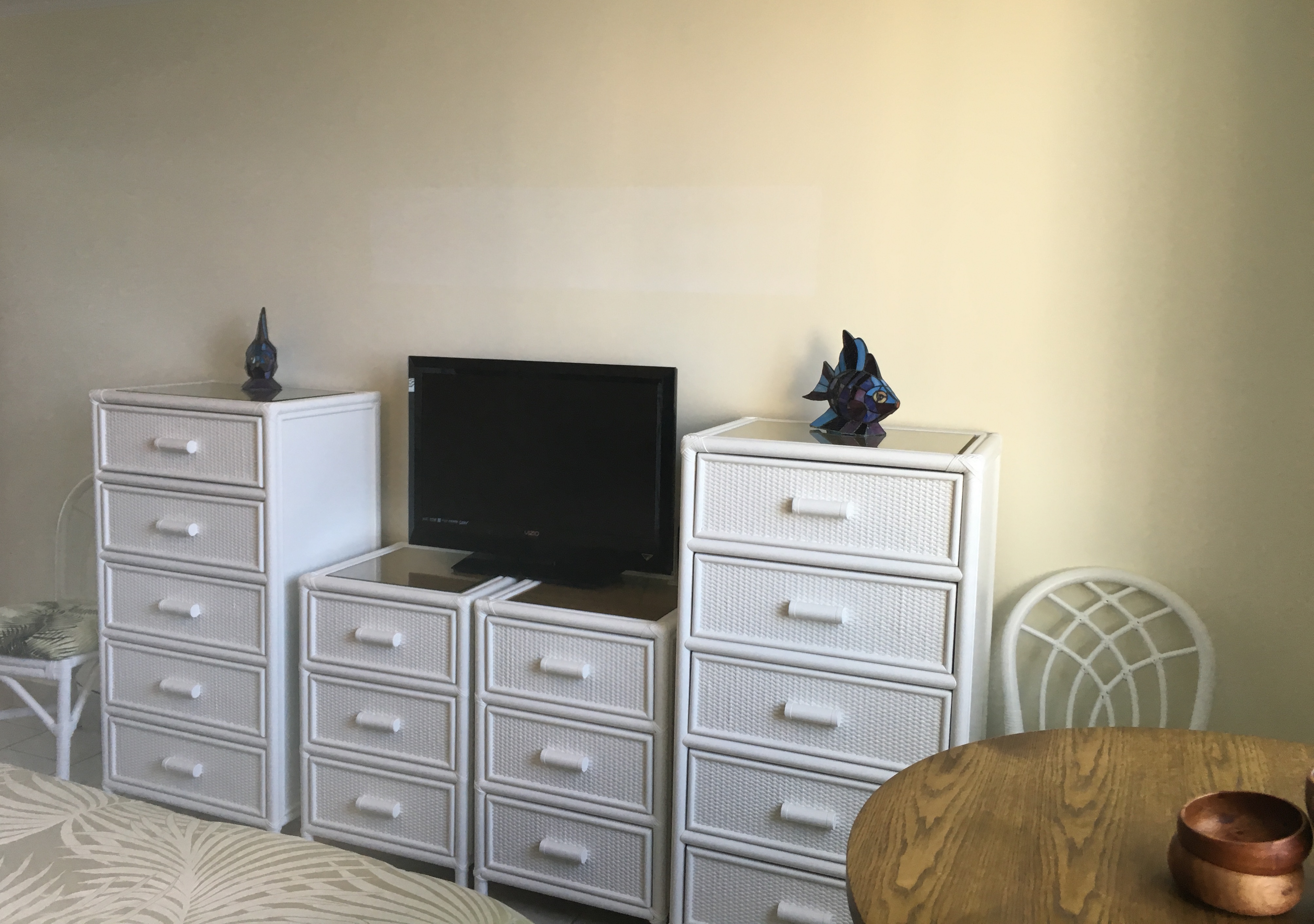 Cable TV and lots of storage in your private master bedroom.
