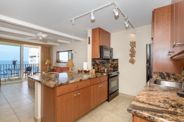Open floor plan with brand new kitchen with amazing oceanfront viewing.