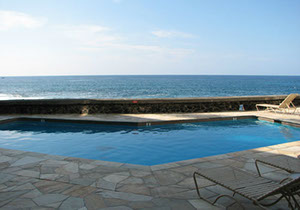Looking over the pool to the ocean.