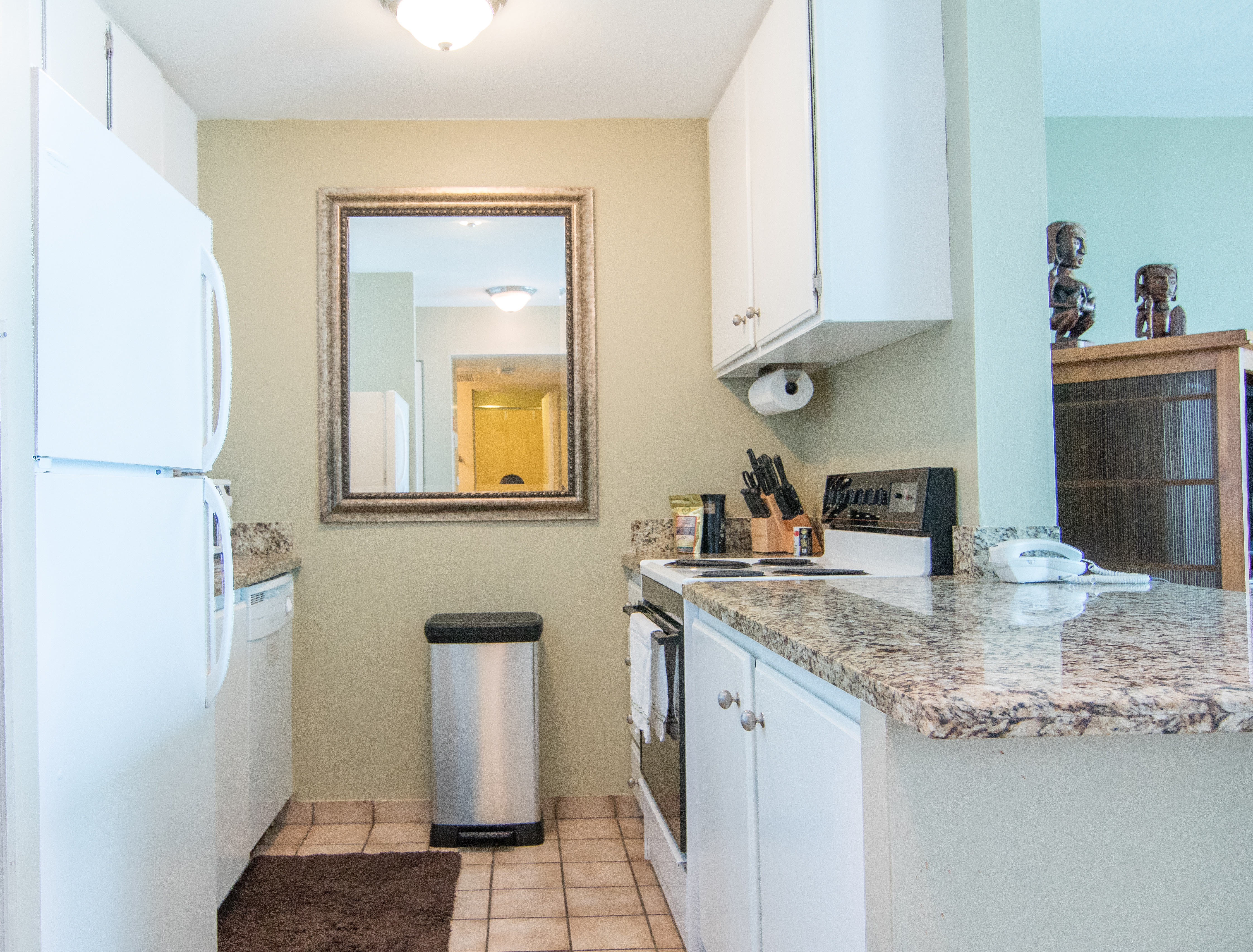 Updated kitchen with all of the large and small appliances you need.