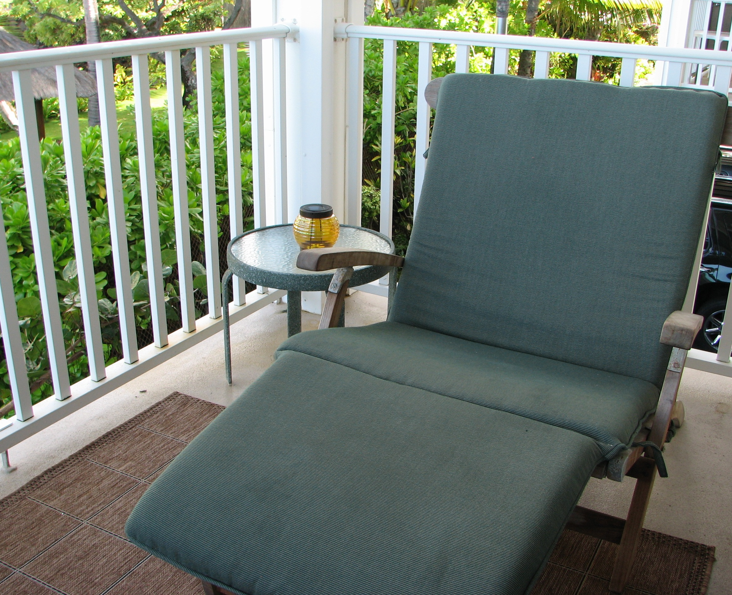 Oceanfront chaise lounge on your lanai,perfect for that tropical drink and beach book.