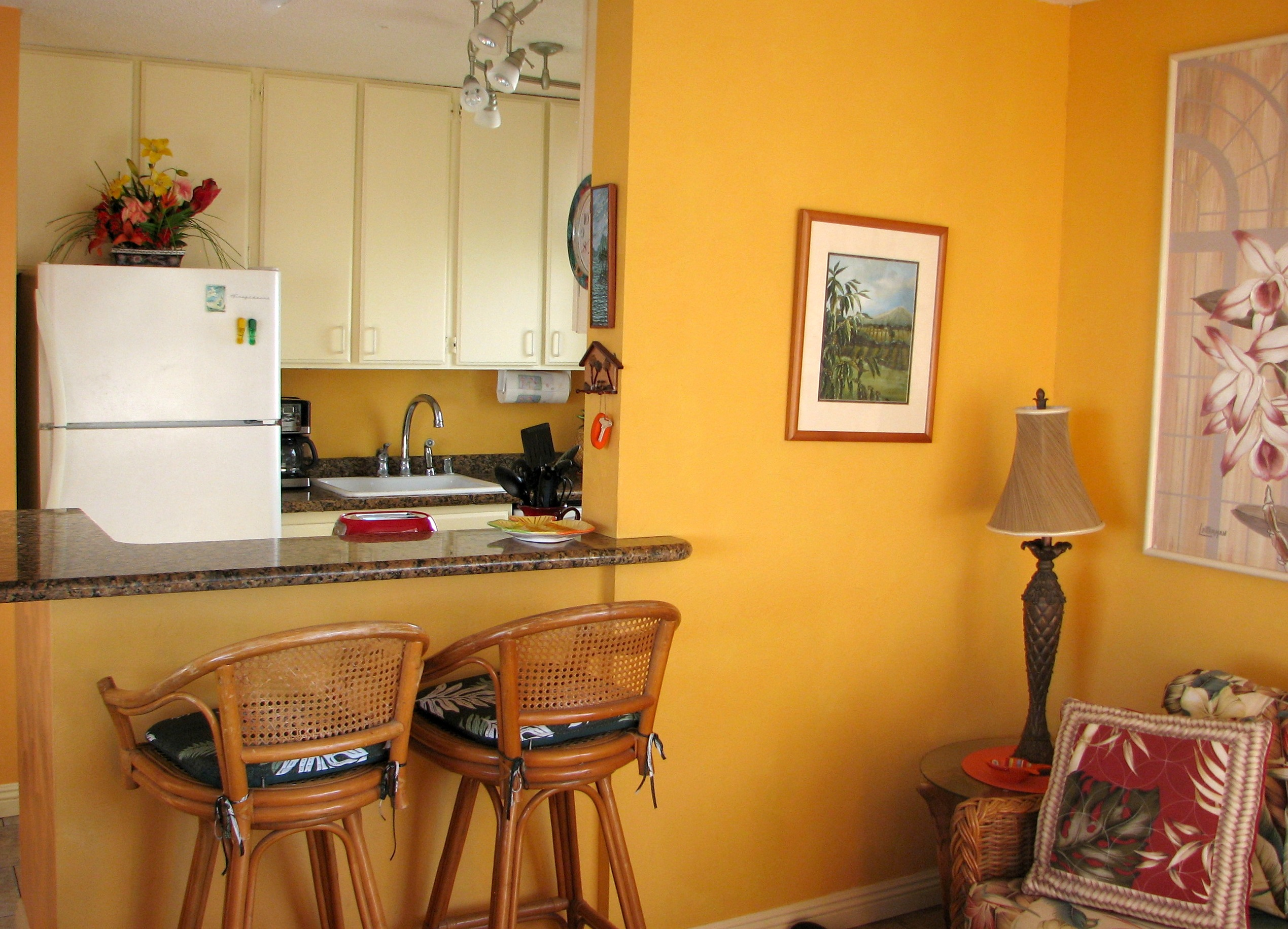 Remodeled granite kitchen with new appliances.