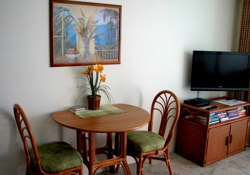 In-condo dining and cable TV in your living room.