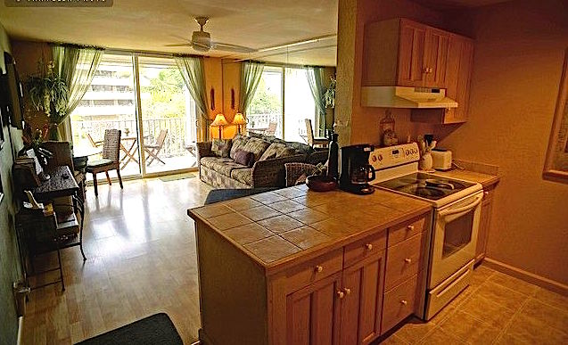 Open floor plans allows for lagoon viewing.