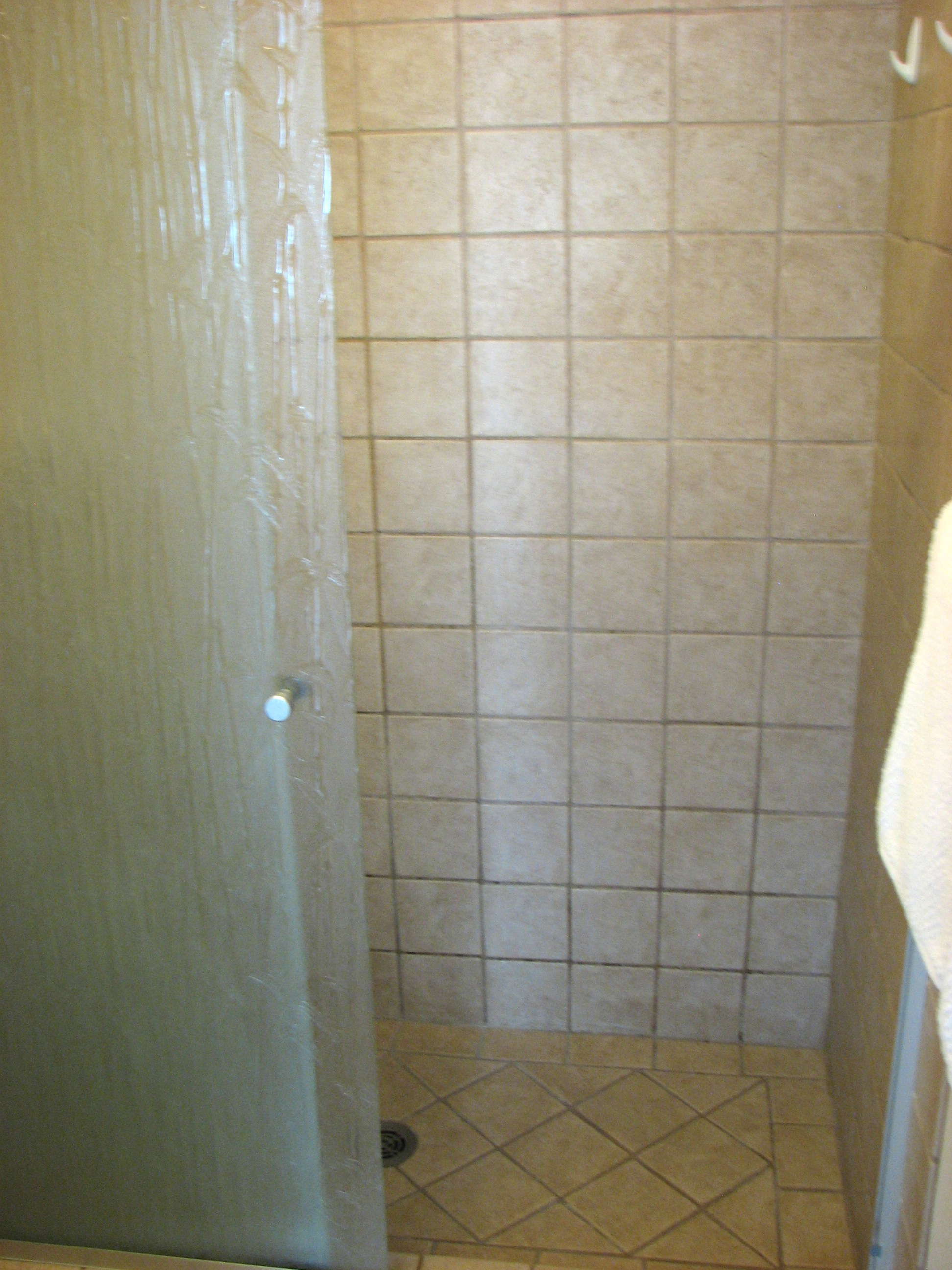 Walk in tile shower.