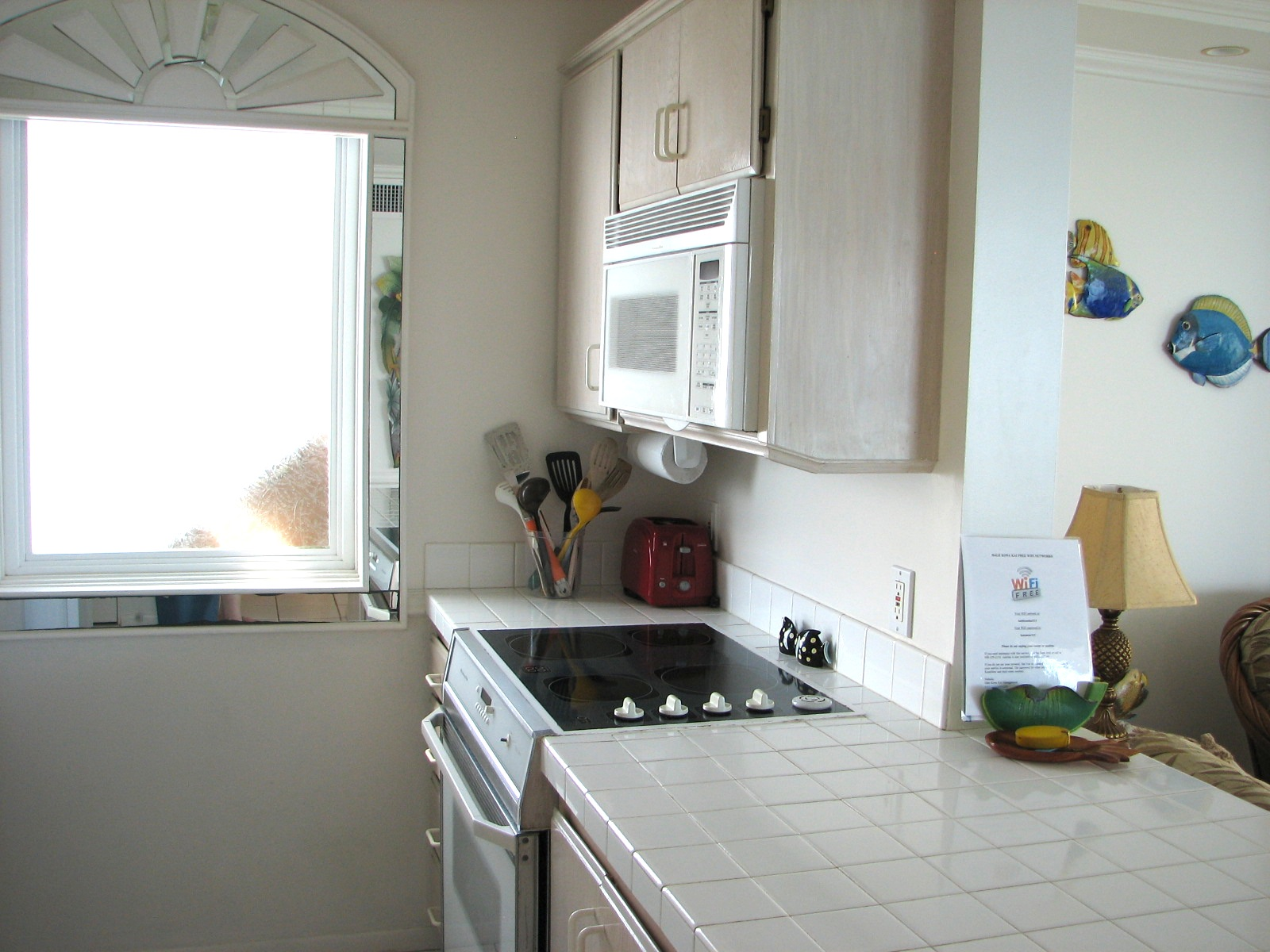 All of the large and small appliances needed for a quick meal or the island cook in you.