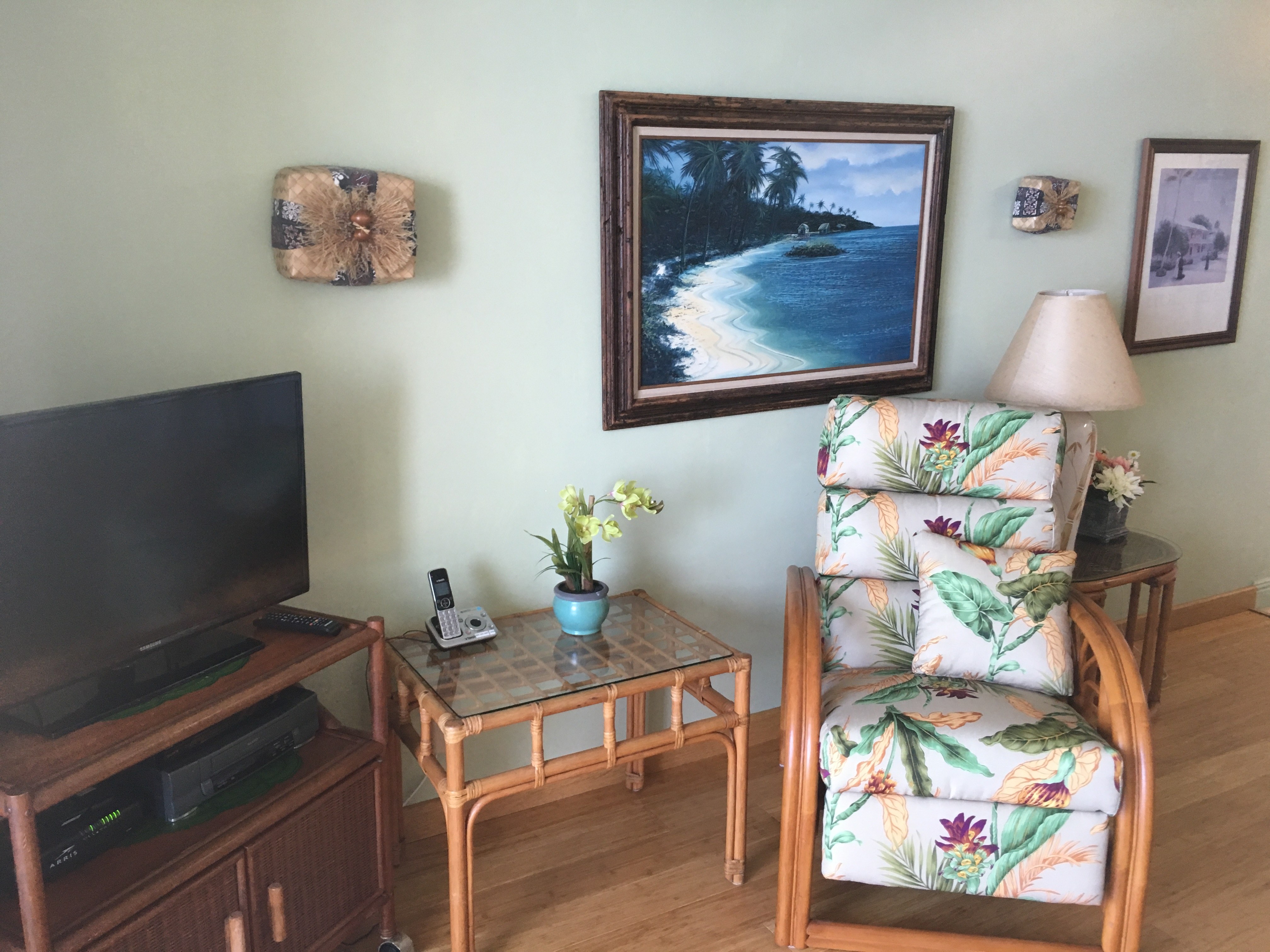 Reclining chair to watch the ocean or cable TV.