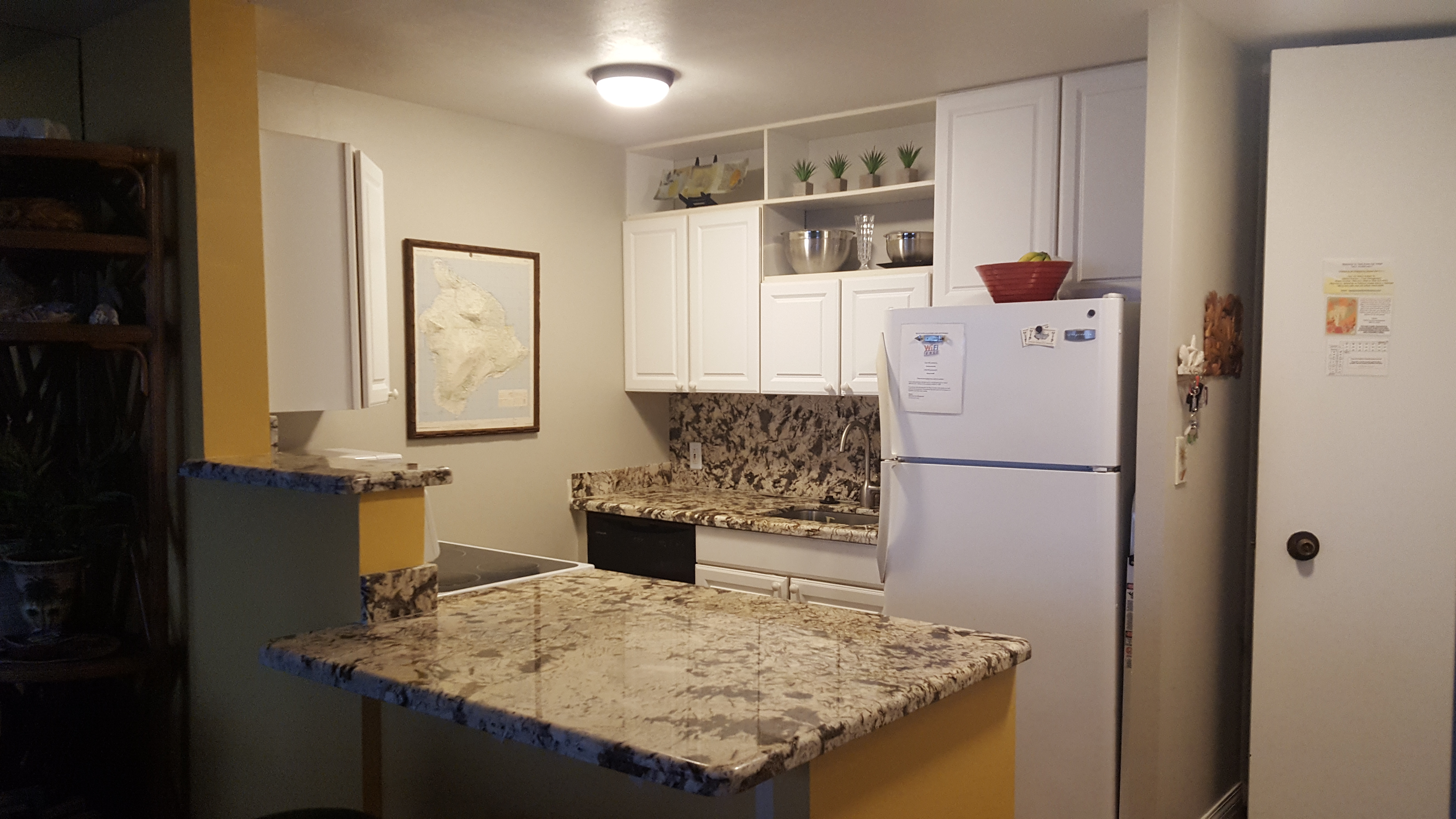 Remodeled kitchen with all of the small and large appliances you need for island cooking.