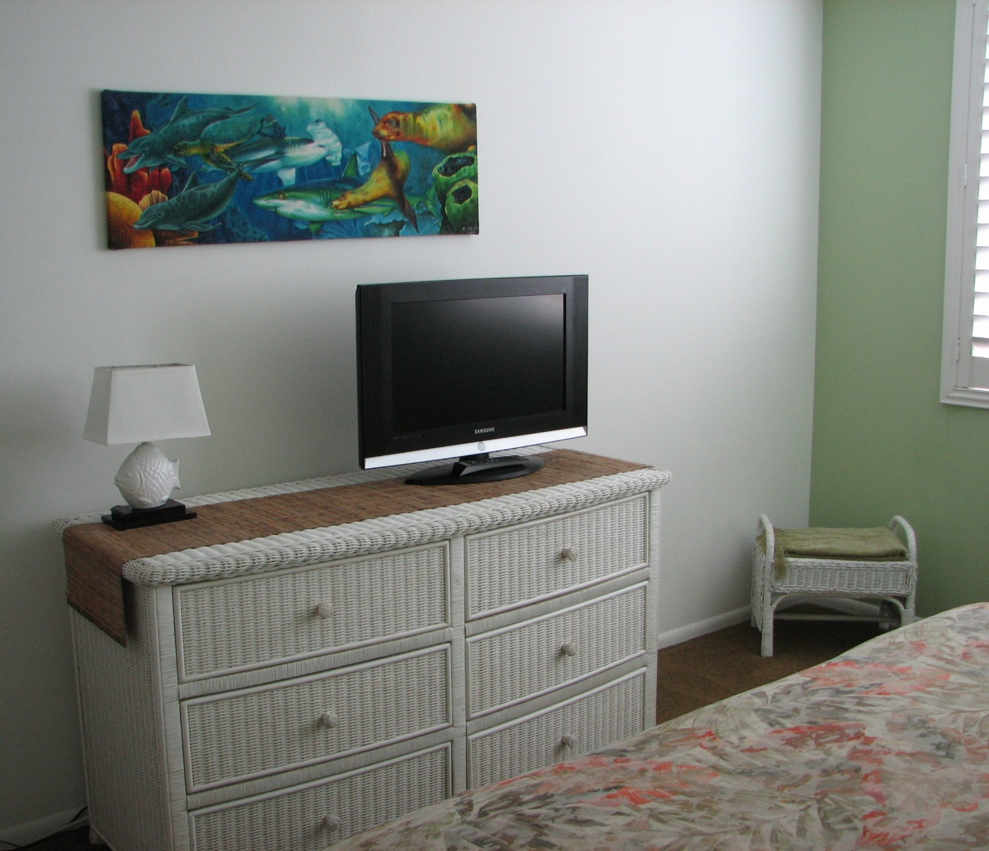 Cable TV and plenty of storage in your private master bedroom.