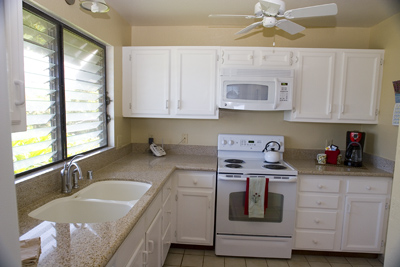 Full kitchen with full sized appliances.