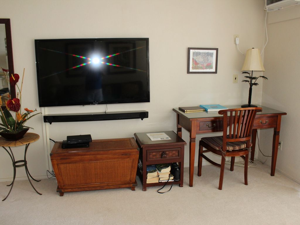 Cable TV, WIFI and even a desk if you must work :)