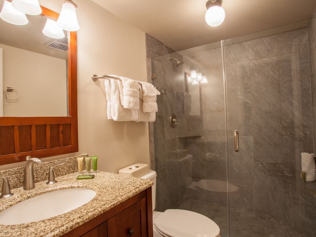 Great updated bath with a walk in shower.