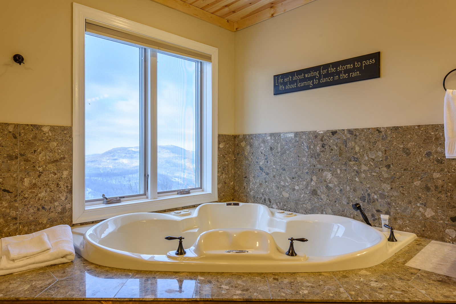 enjoy Mountain Views from the Jetted Tub in Master Bathroom