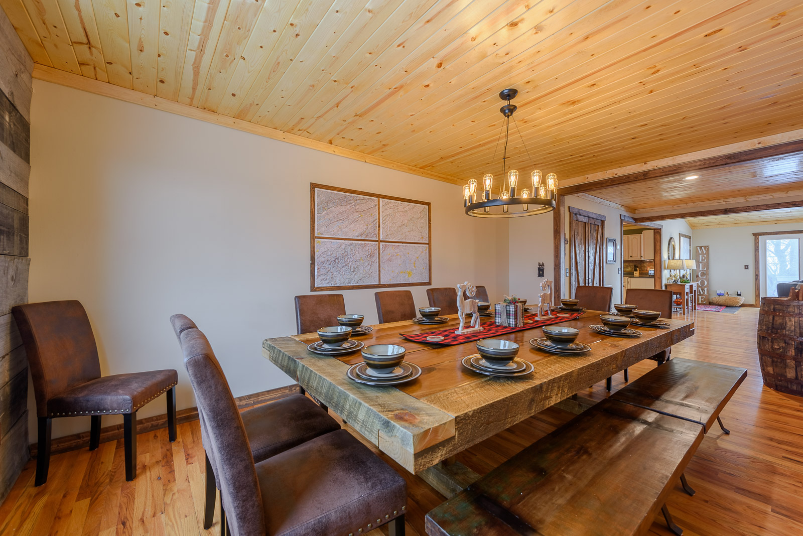 Huge Banquet-style Dining Table seats up to 16, Custom-Made for this room
