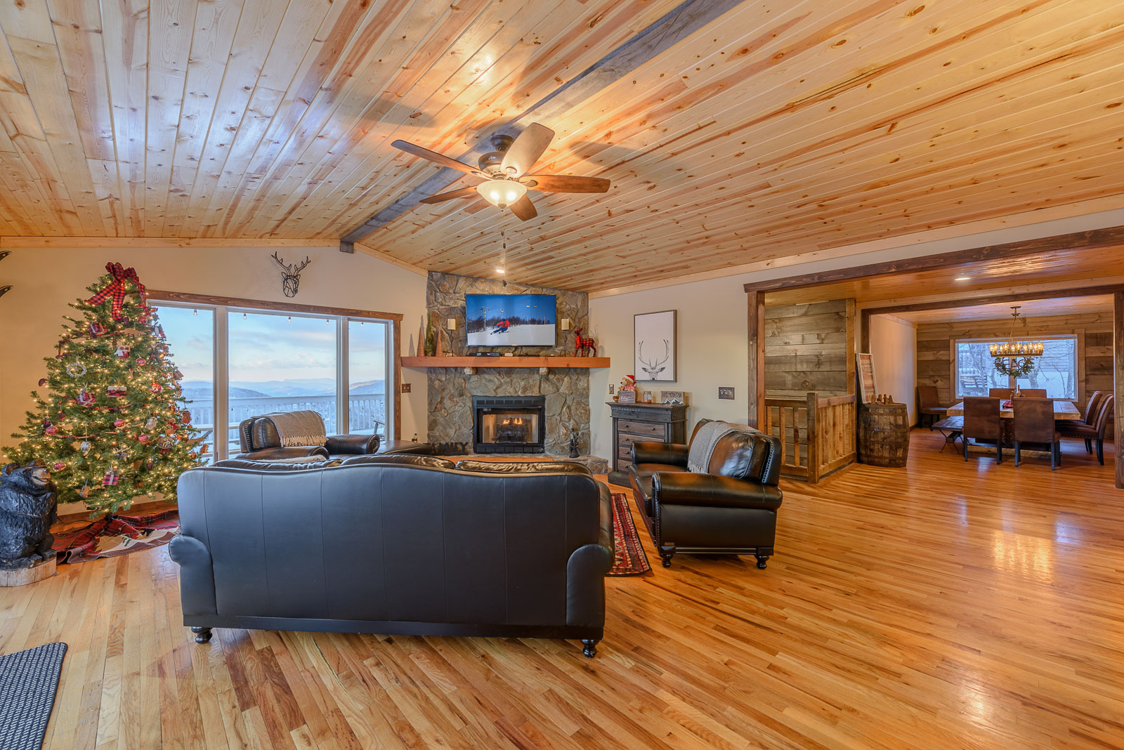 Living Room with HDTV and Mountain Views