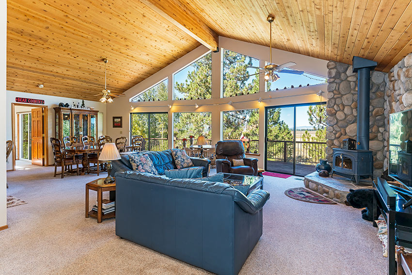 Open and airy with sliding glass doors out to a large deck (summer only)