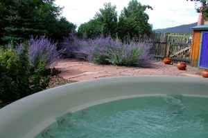 Private hot tub in enclosed private yard