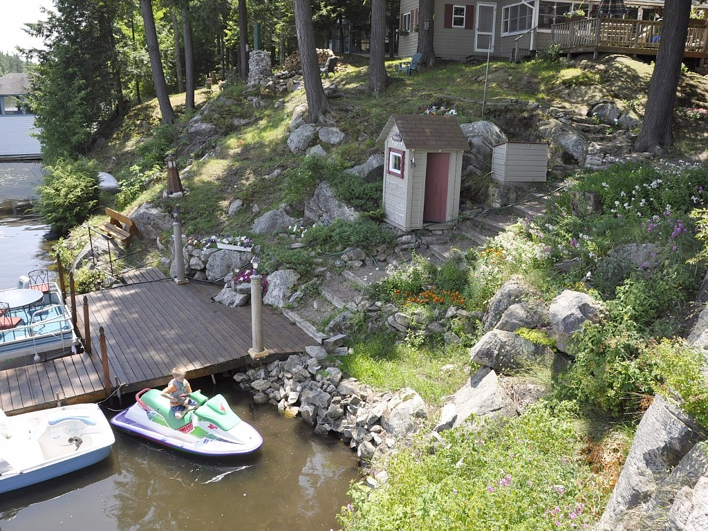 Waterfront with Dock for Motorboat, Canoe, and Paddleboat