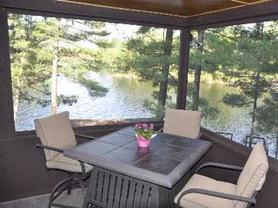 Enclosed Porch with Great Views of the Lake.