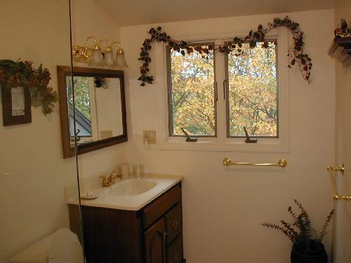 Bathroom with window view