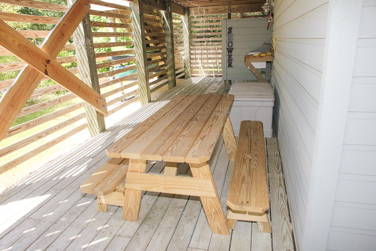Picnic Table and Outdoor Shower