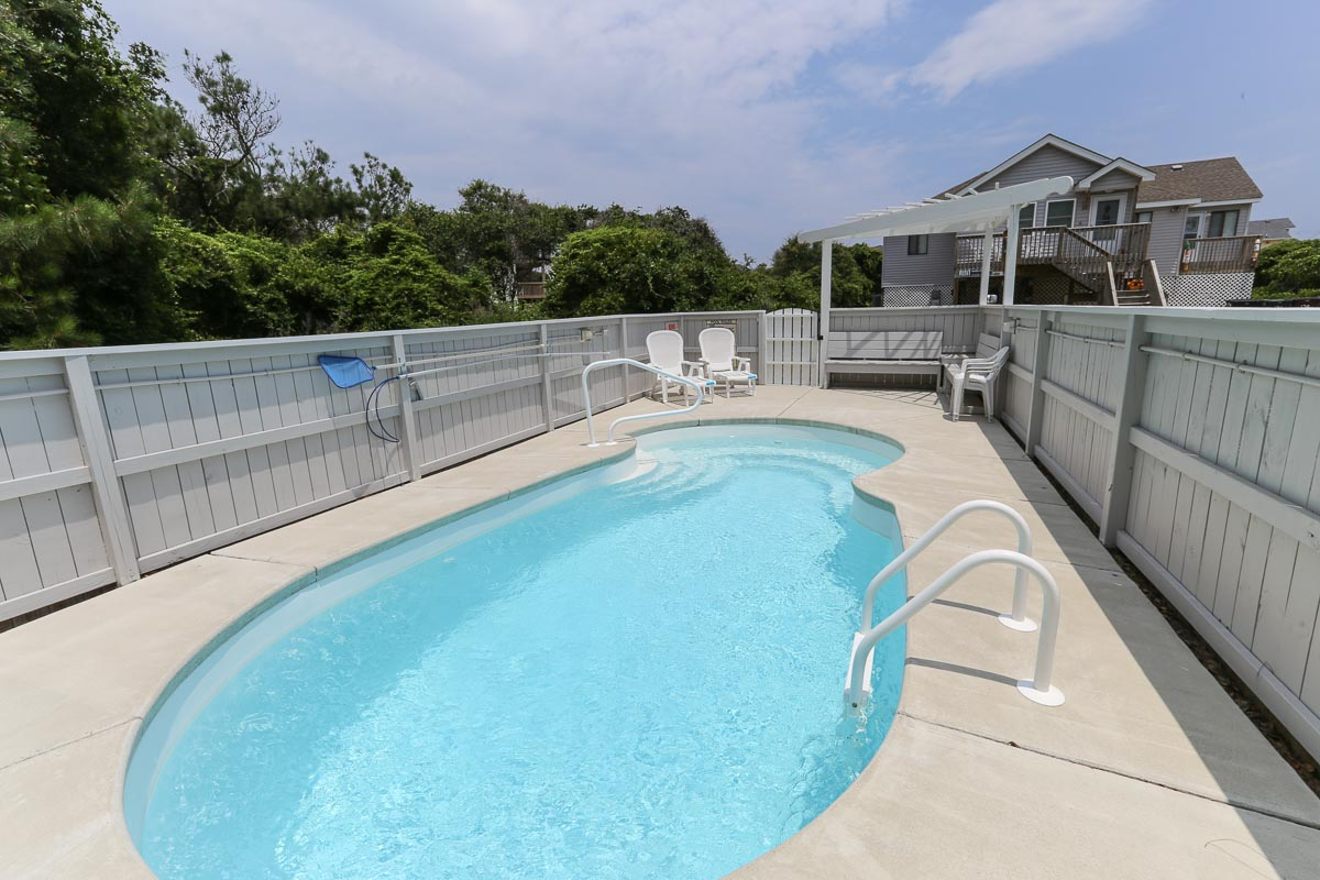 Oceanside Outer Banks Vacation Rental # 521 has a beautiful pool with privacy fence 2016