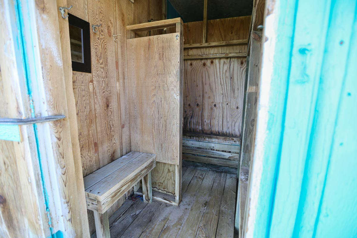 Outdoor shower 2019, ground level ocean side next to Laundry room