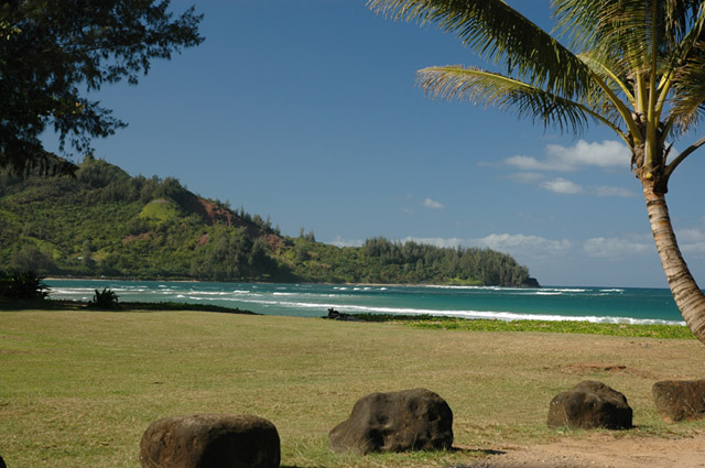 You are 6 houses away from this spot on Hanalei Bay