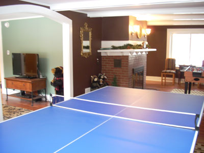 game room w/fireplace, ping-pong, foosball/air hockey, chess