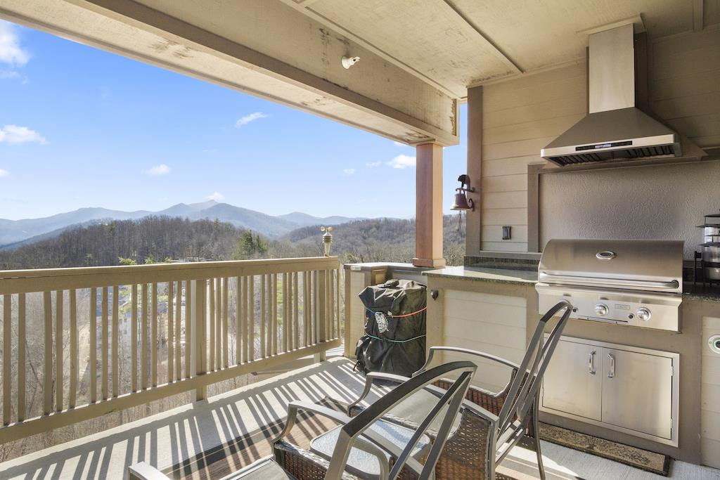 Deck Area with Grandfather Mountain View and Grill