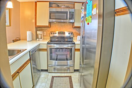 Kitchen equipped for basic meal preparation