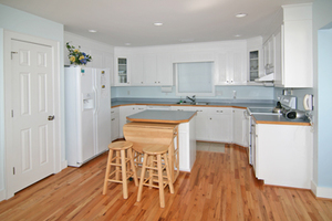 Kitchen with drop leaf table for extra dinner seating