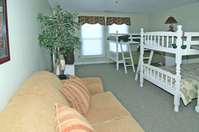 Kids bedroom with 2 sets of bunks