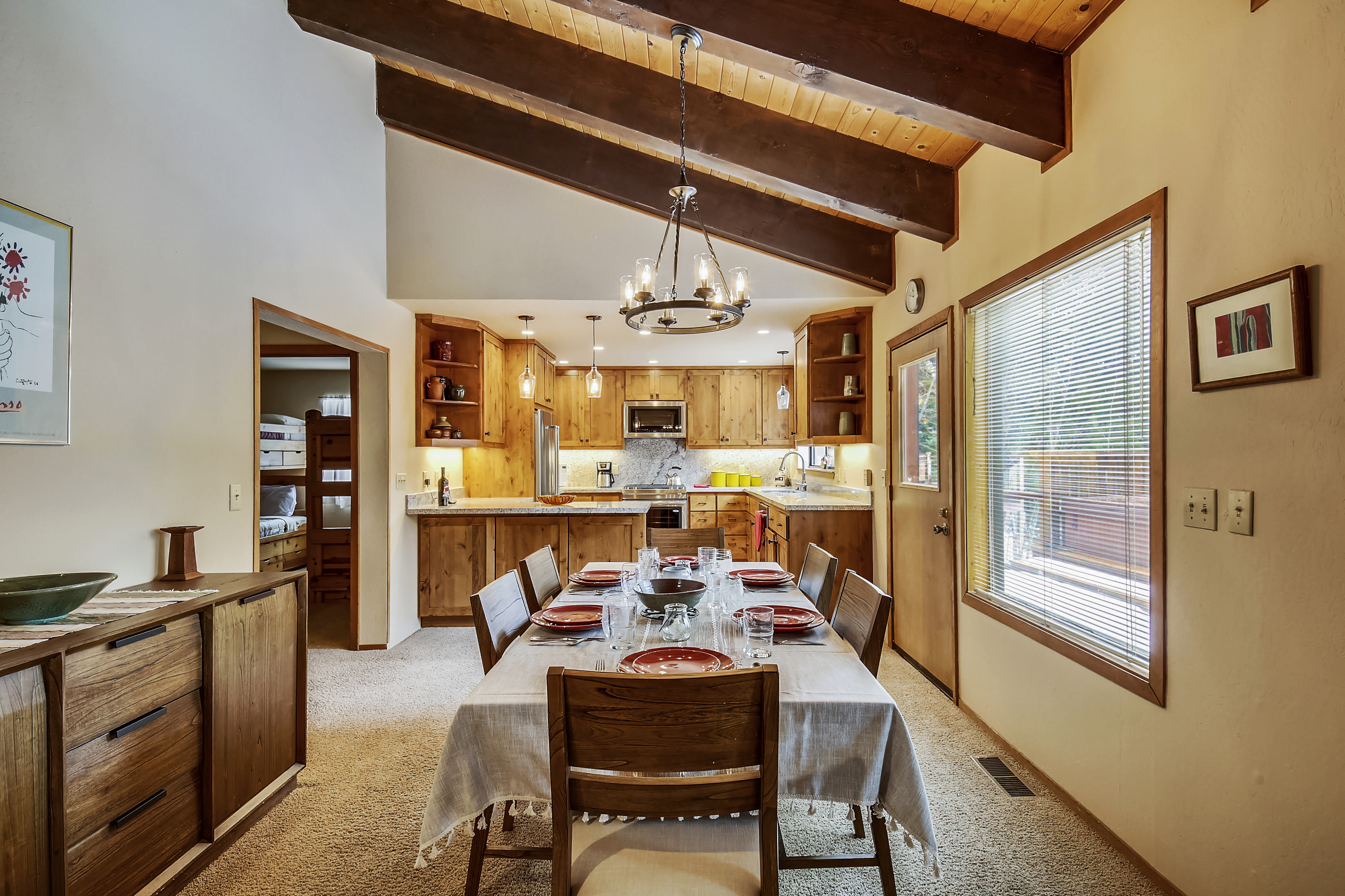 Open dining room into the kitchen