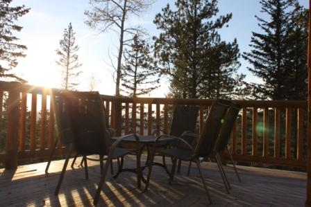 Upper level patio with spectacular views of Black Hills