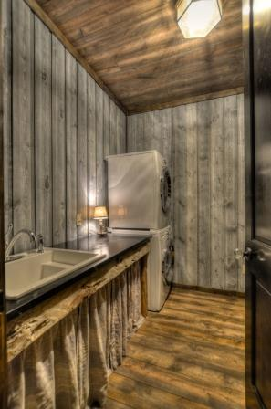 Laundry room in this vacation cabin in Black Hills