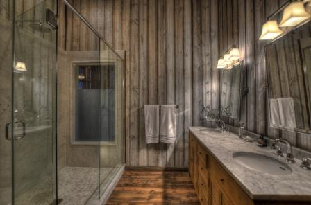Shower with a view of the forest!