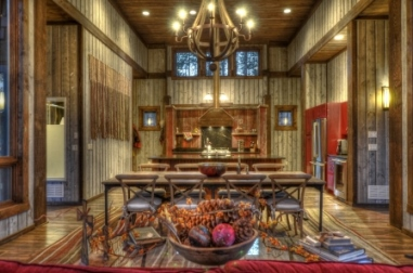 View of dining area in this vacation cabin near Mt Rushmore